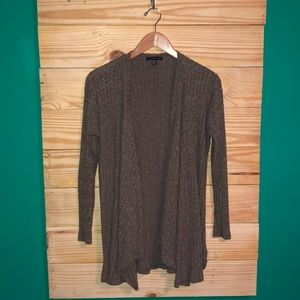 American Eagle Open Front Ribbed Cardigan Brown
